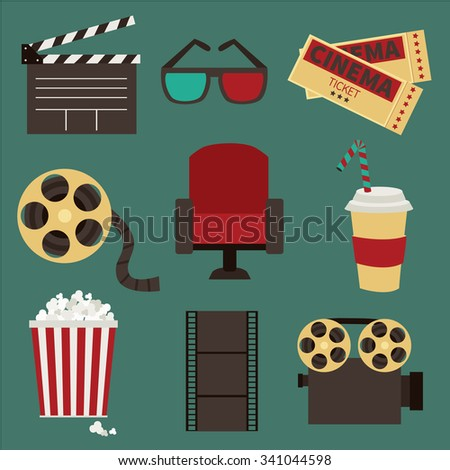 Vector illustration. Set of movie design elements  - stock vector