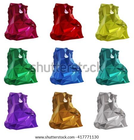 vector illustration. set of multicolored gemstones, crystals of diamond, amethyst, ruby, emerald, Topaz, citrine. - stock vector