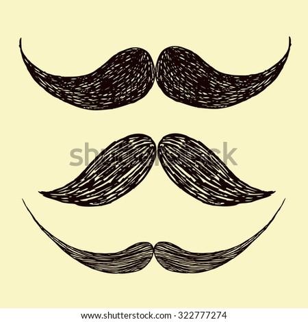 vector illustration set of mustache, beard - stock vector