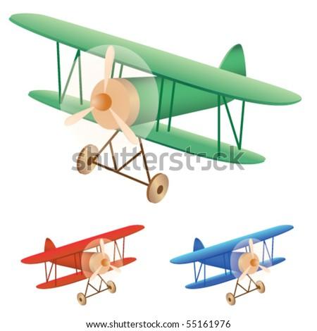 Vector illustration set of old biplane - stock vector