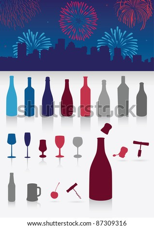 Vector illustration set of party drinks, glasses, corkscrew and decoration. All objects are grouped. Colors are easy to customize. - stock vector
