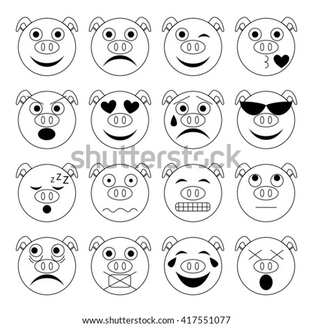 vector illustration set of pig emoticons in black and white
