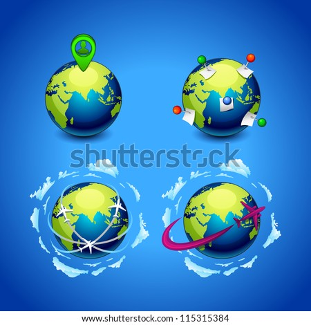 vector illustration set of planet earth icon with a pins and airplanes - stock vector
