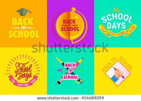 vector illustration set of poster school theme with student tools, school bell, text on yellow, violet, orange, blue background