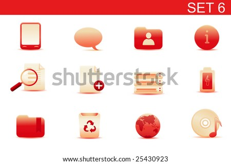 Vector illustration -  set of red elegant simple icons for common computer and media devices functions. Set-6 - stock vector