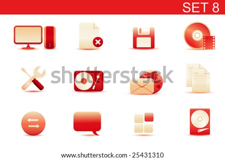 Vector illustration ? set of red elegant simple icons for common computer and media devices functions.Set-8 - stock vector