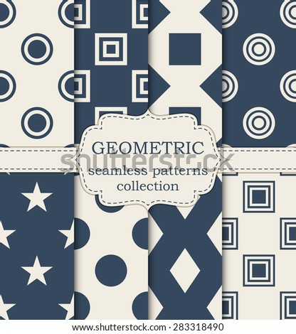 Vector illustration set of seamless geometric patterns. - stock vector
