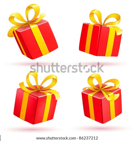 Vector illustration set of shiny red gift boxes - stock vector