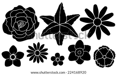 Vector illustration. Set of silhouettes of flowers see realistic version of flowers in my portfolio - stock vector