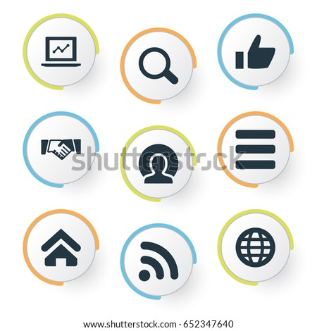 Vector Illustration Set Of Simple Conference Icons. Elements Statistic, Thumb Up, Planet And Other Synonyms International, Access And Screen.