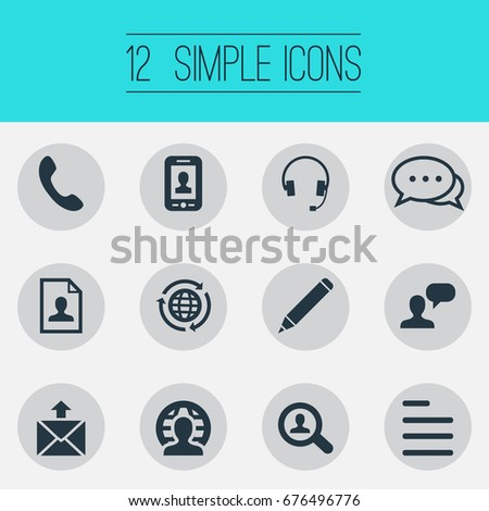 vector illustration set simple contact icons stock vector royalty