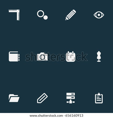 Vector illustration set simple design icons stock vector 656160913 vector illustration set of simple design icons elements blueprint date list and other malvernweather Images