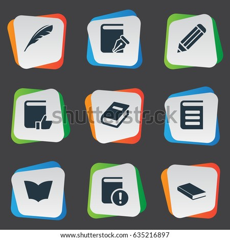 Vector Illustration Set Of Simple Education Icons. Elements Encyclopedia, Pen, Notebook And Other Synonyms Recommended, Dictionary And Write.