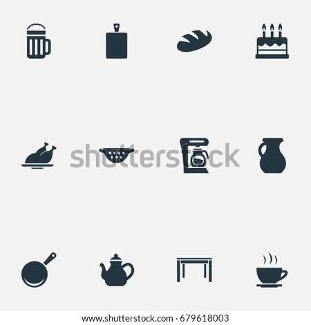 Vector Illustration Set Simple Gastronomy Icons Stock Vector