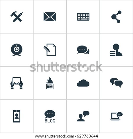 Vector Illustration Set Of Simple Newspaper Icons. Elements Gazette, Gossip, Share And Other Synonyms Notepad, Negotiation And Contract.