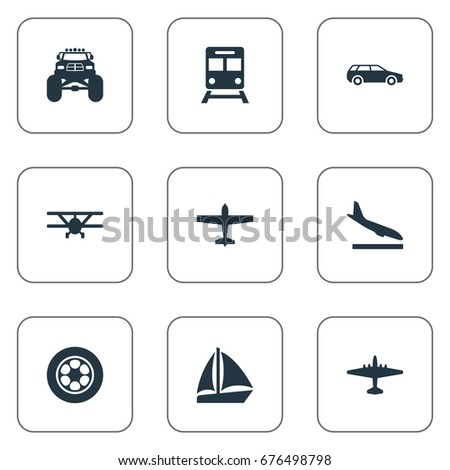 Vector Illustration Set Of Simple Transport Icons. Elements Yacht, Truck, Metro And Other Synonyms Car, Plane And Metro.