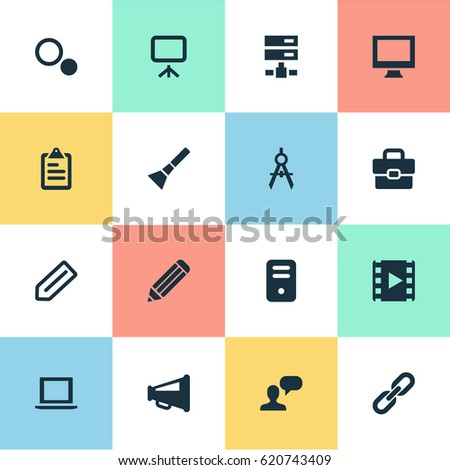 Vector illustration set simple ui icons stock vector 620743409 vector illustration set of simple ui icons elements briefcase blueprint system unit and malvernweather Choice Image