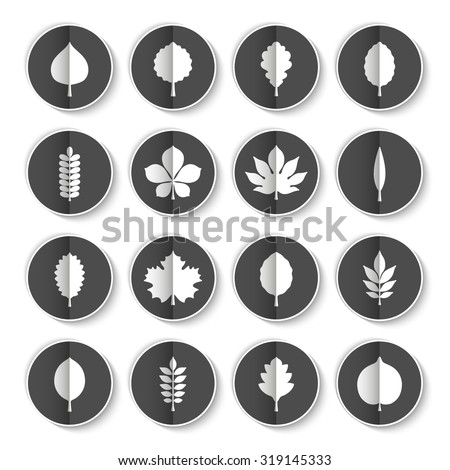 Vector illustration: set of sixteen black paper stickers with white silhouettes of different tree icons with vertical fold, white stroke and drop shadow isolated on white background