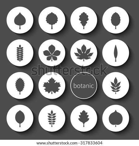 Vector illustration: set of sixteen circle white 3d badges with black silhouettes of different tree leaves isolated on black background - stock vector