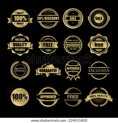 vector illustration set of stamps gold for use in business and commerce vintage - stock vector