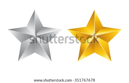 Vector illustration; Set of Stars. Gold Star and Silver Star isolated on white Background. - stock vector