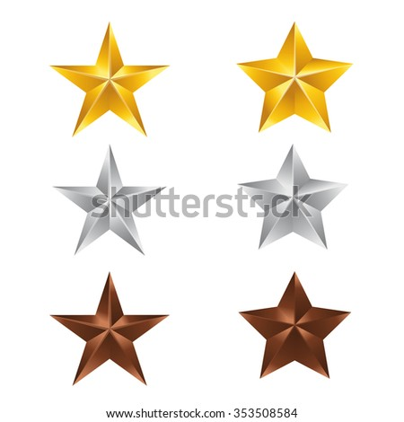 Vector illustration; Set of Stars. Gold Star, Silver Star and copper Star isolated on white Background. - stock vector