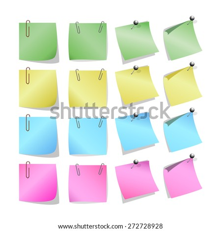 Vector illustration set of Sticks note paper on white background