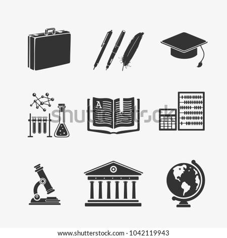 Vector Illustration Set Symbols Education Stock Vector 1042119943