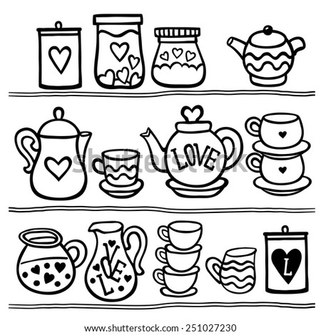 Vector illustration set of tea collection with a tea pot, tea cup, jars, jugs in vintage style. Black and white. Valentines day card. - stock vector