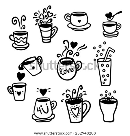 Vector illustration set of tea collection with a tea pot, tea cup, jars, jugs in vintage style. Black and white. - stock vector