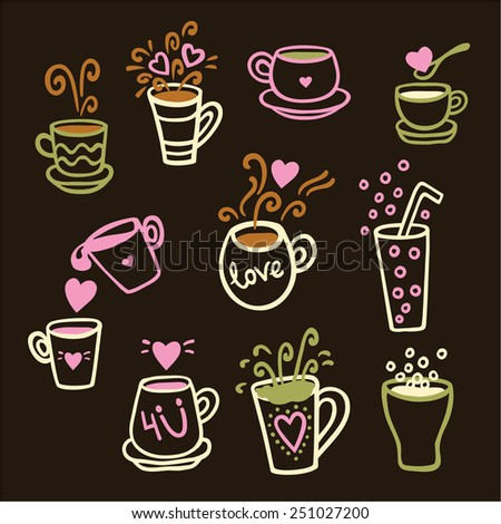 Vector illustration set of tea collection with a tea pot, tea cup, mugs, glasses in vintage style. Valentines day card. - stock vector