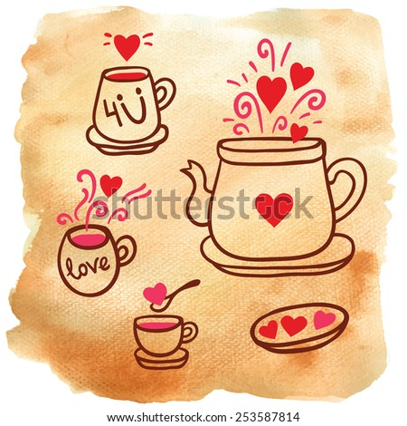 Vector illustration set of tea collection with a tea pot, tea cup, mugs on aged paper. In vintage style. - stock vector