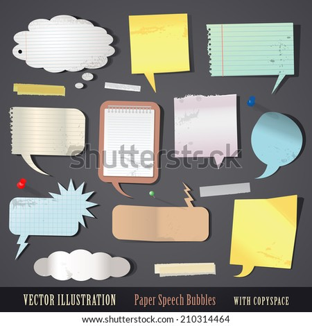 vector illustration set of textured paper speech bubbles - stock vector