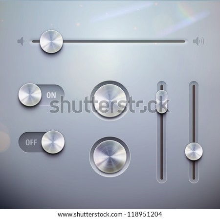 Vector illustration set of the detailed UI elements �¢?? knob, switches and slider in metallic style. Good for your websites, blogs or applications. - stock vector
