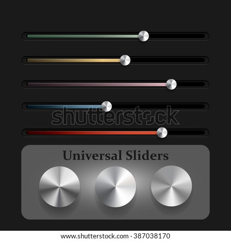 Vector illustration set of the detailed UI elements. Knobs, switches and slider in metallic style.