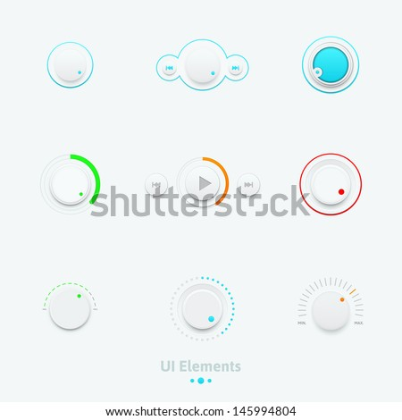 Vector illustration set of the detailed UI elements, switches and slider in metallic style. Good for your websites, blogs or applications. - stock vector
