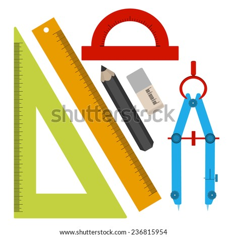 Vector illustration - set of tools for sketching, line, square, pencil, eraser, compass, protractor. In the style of a flat design. - stock vector
