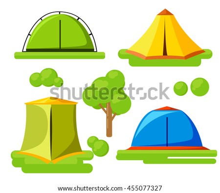 Vector illustration set of tourist tents. The most necessary for a campaign. Hiking and camping tent vector icons. Wild nature camp isolated on white background.