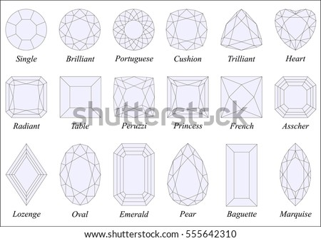 Vector illustration set various diamond cut stock vector 555642310 vector illustration set of various diamond cut shapes and design with their names black wireframe ccuart Image collections