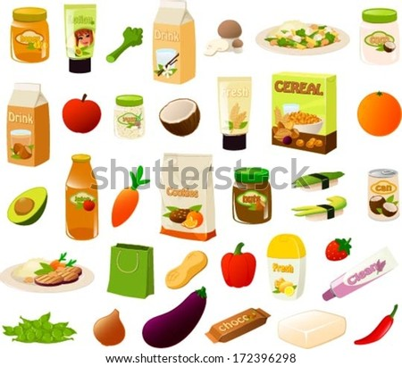 Vector illustration set of various stereotypical vegan/vegetarian food items.