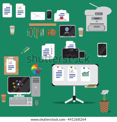 Vector illustration. Set of vector flat design concept icons of office equipment. Computer,printer, laptop,copier,note board  etc. - stock vector
