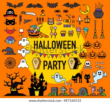 Vector illustration - Set of vector Halloween party elements