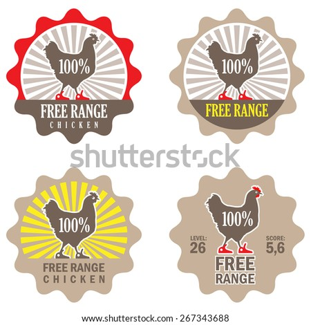 """Vector Illustration. Set of Vector Labels: """"Free Range Chicken"""". Design of Stamp for Eco Products. Concept for Organic Food Items. Funny Chicken in Sneakers - stock vector"""