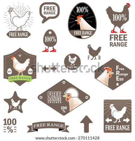 """Vector Illustration. Set of Vector Labels: """"Free Range Chicken"""". Design of Stamp for Eco Products. Concept for Organic Food Items. Funny Chicken Stickers - stock vector"""