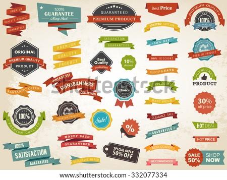 Vector illustration set of vintage Label, Banner Tag Sticker Badge and Ribbons design elements. - stock vector