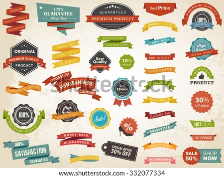 Vector illustration set of vintage label banner tag sticker badge vector design elements./Vintage Label Banner Tag Sticker Badge Vector/Vintage Label Banner Tag Sticker Badge Vector - stock vector