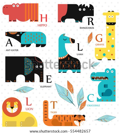 Vector illustration. Set of wild animals on a white background. Flat design. English alphabet. English letters.