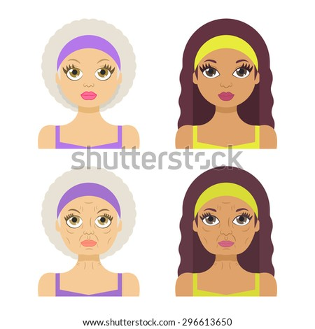 Vector illustration: set of 4 woman avatar different nations (european and latina) demonstrated age-related changes - stock vector