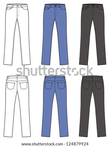Vector illustration. Set of women's jeans. Front and back views. Difference in color: white, blue and black - stock vector
