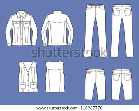 Vector illustration. Set of women's jeans wear: jacket, waistcoat, pants, shorts. Front and back views - stock vector